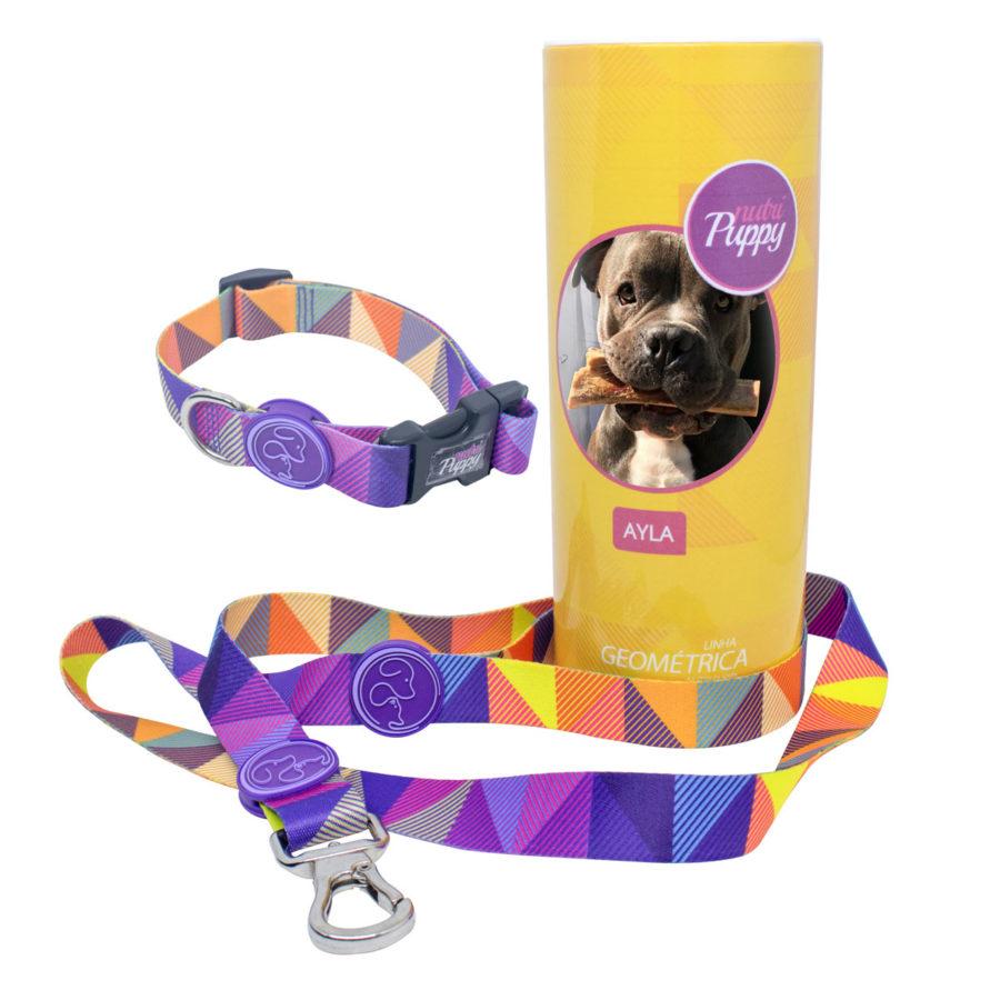 Kit Coleira e Guia para Cachorro Ganhe Porta KIT com a foto do seu PET - Geométrica