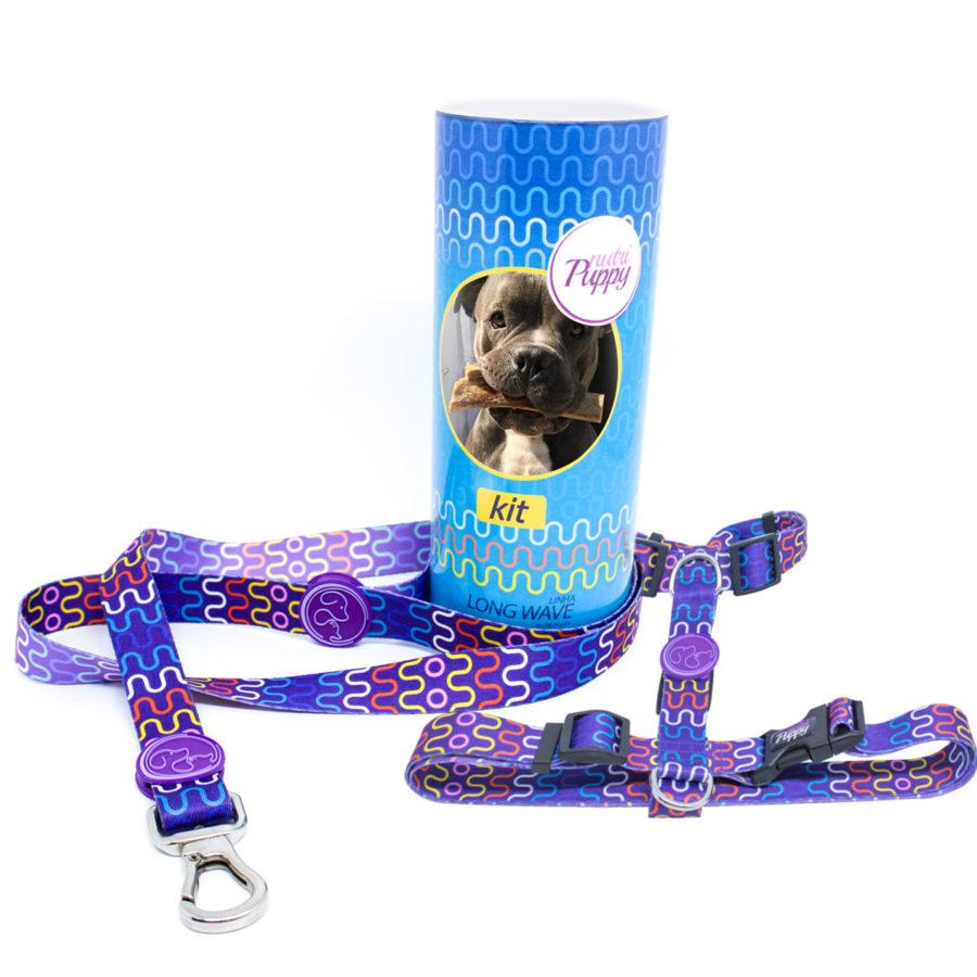 Kit Peitoral e Guia para Cachorro Ganhe Porta KIT com a foto do seu PET - Long Wave