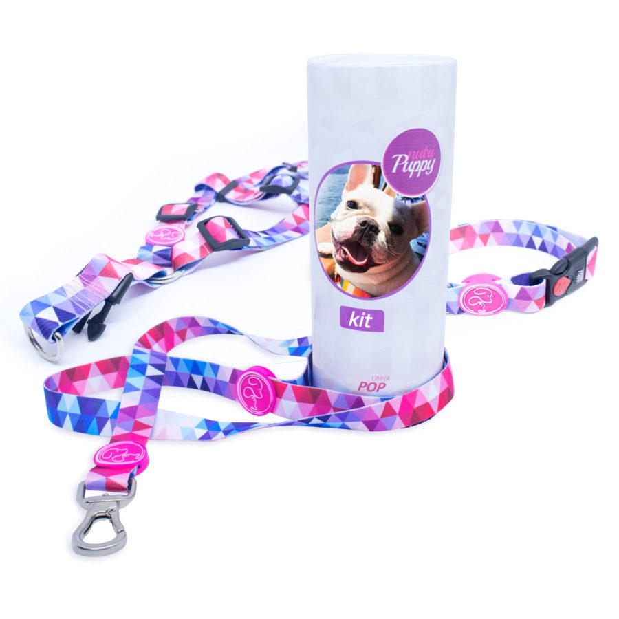 Super Kit Peitoral V, Coleira e Guia para Cachorro Ganhe Porta KIT com a foto do seu PET - Pop